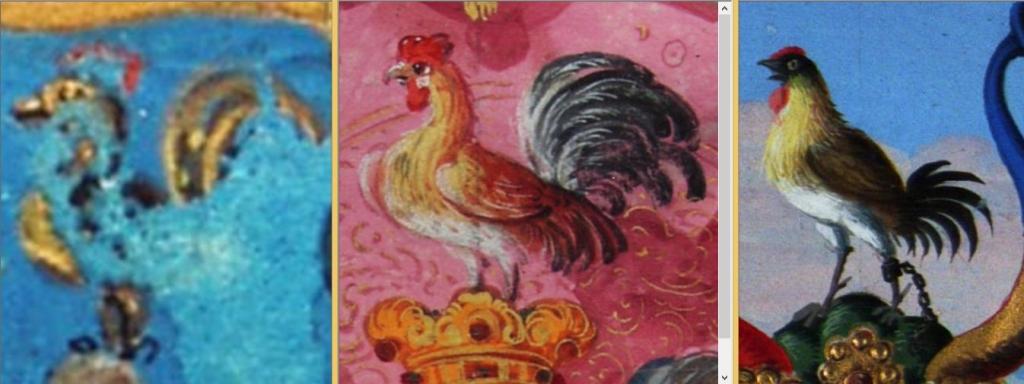 A Pócza, Hoppert és Kopunovics címerek kakasai