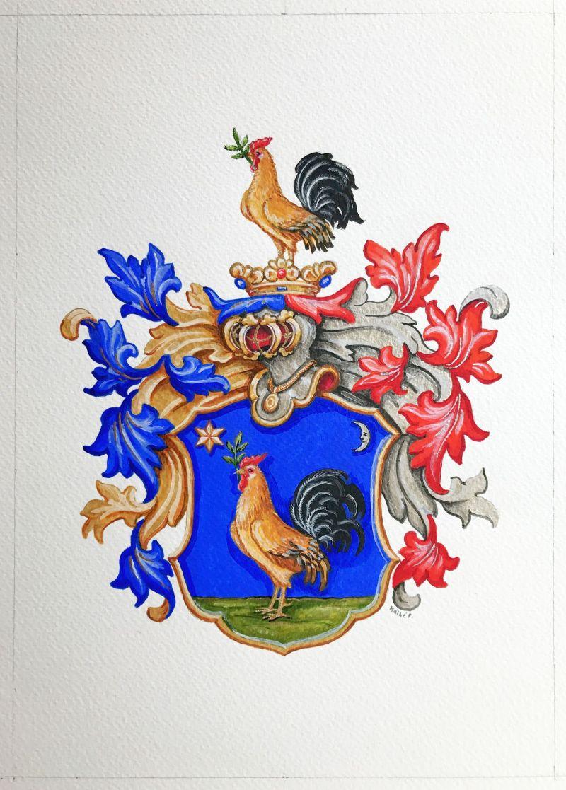 A pásztói Legény család címere, melyen a címerleírás természetes színű kakasát a mai magyar sárga kakas tollszínezetéhez hasonlóra festettem.