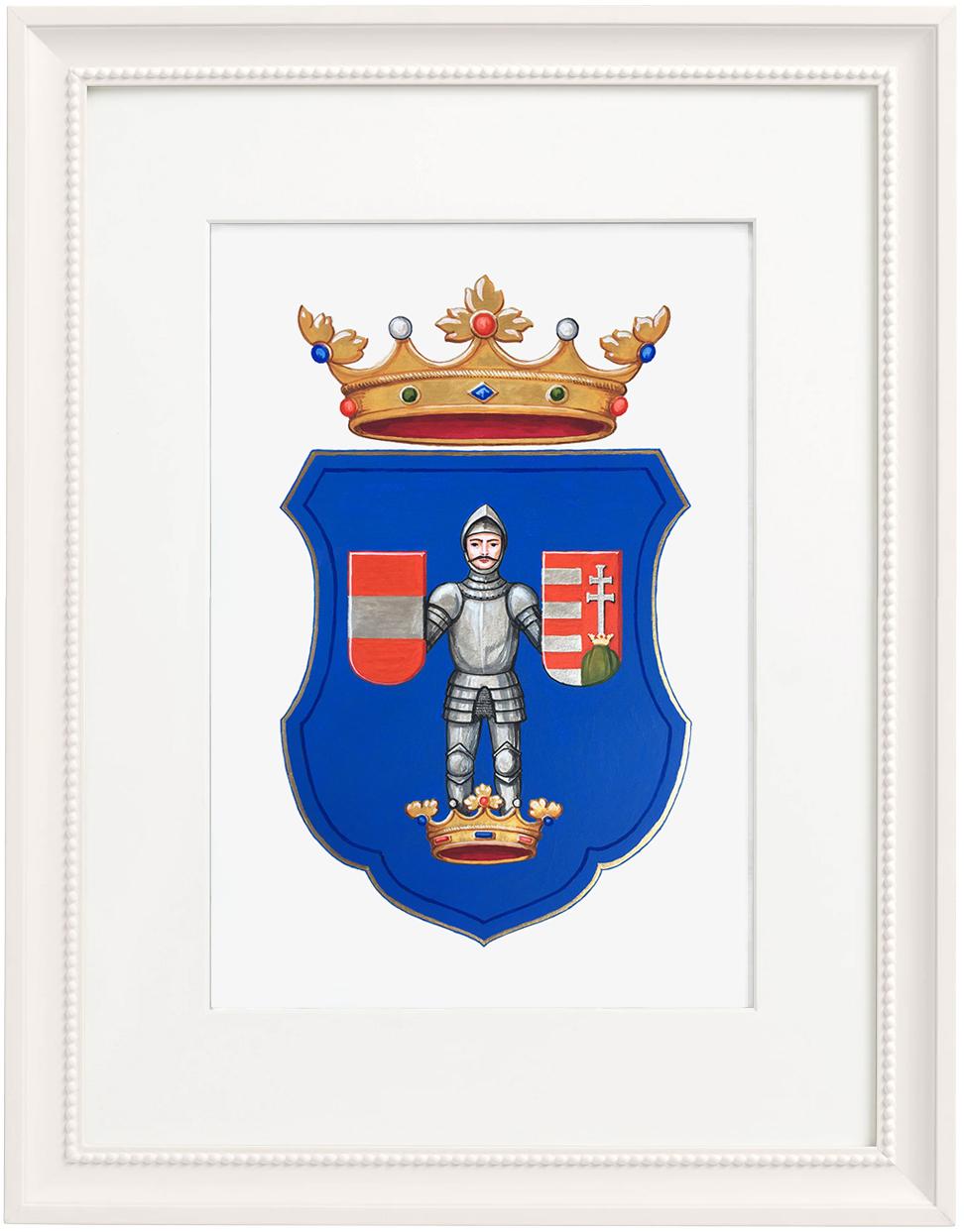szajoli Hegedüs család egyedi címerváltozata; festette: Máthé Erika