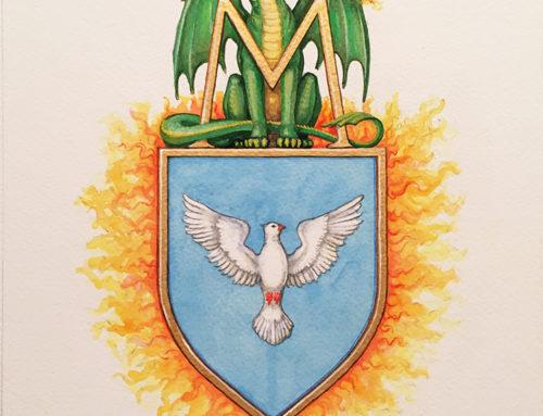 Fantázia címer sárkánnyal és madárral